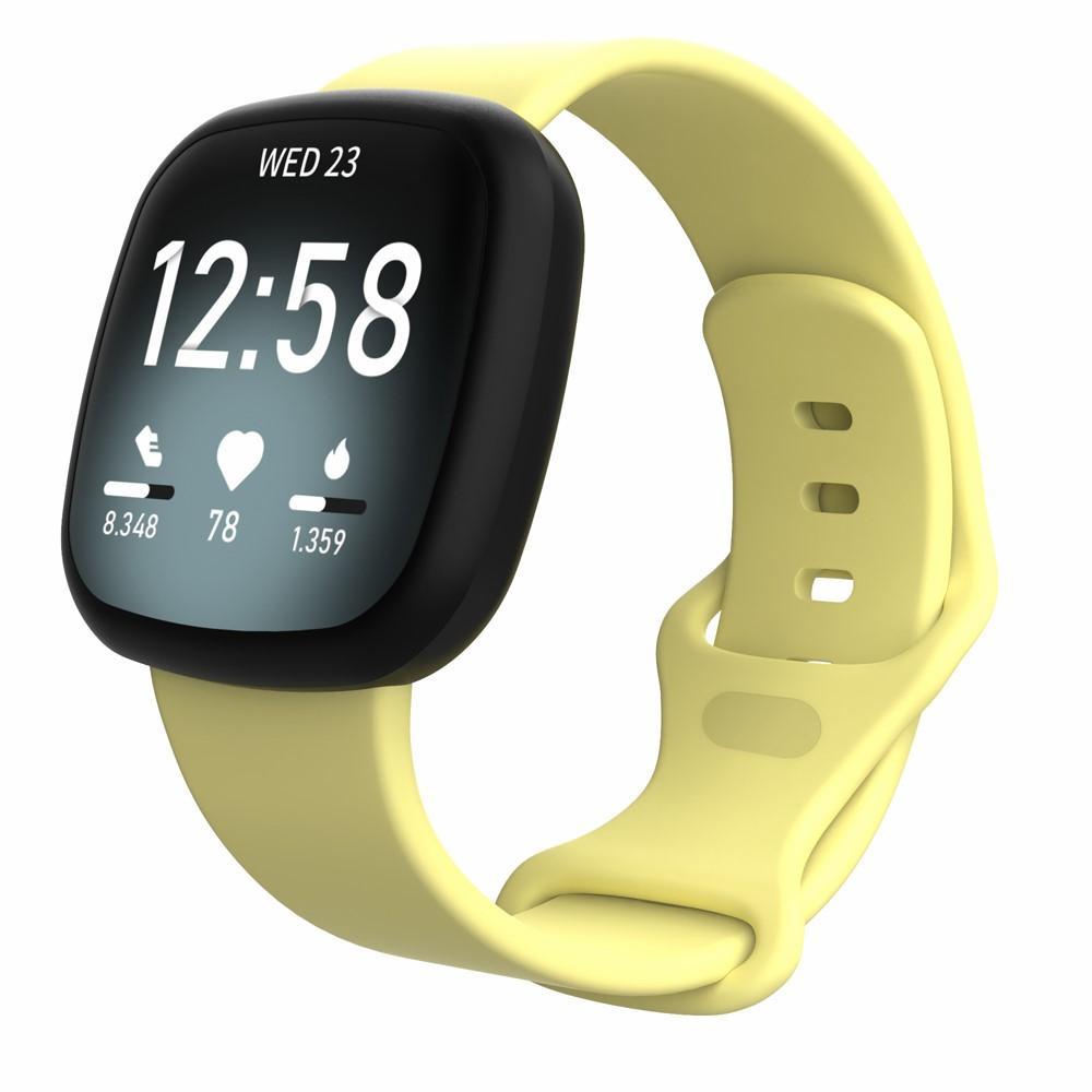 Silikonarmband Fitbit Versa 3/Sense gul (Small)