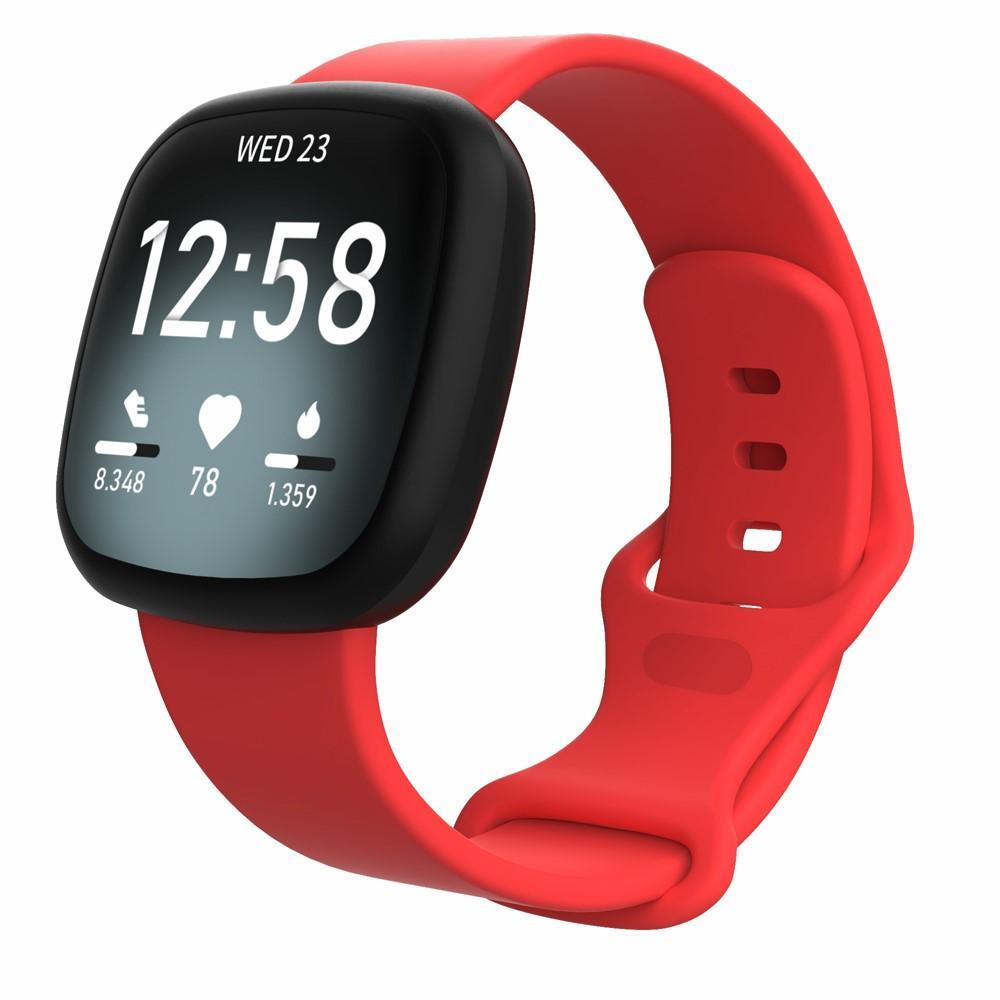 Silikonarmband Fitbit Versa 3/Sense röd (Small)