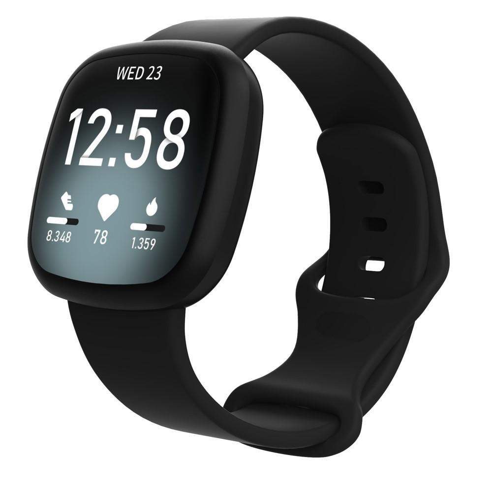 Silikonarmband Fitbit Versa 3/Sense svart (Small)