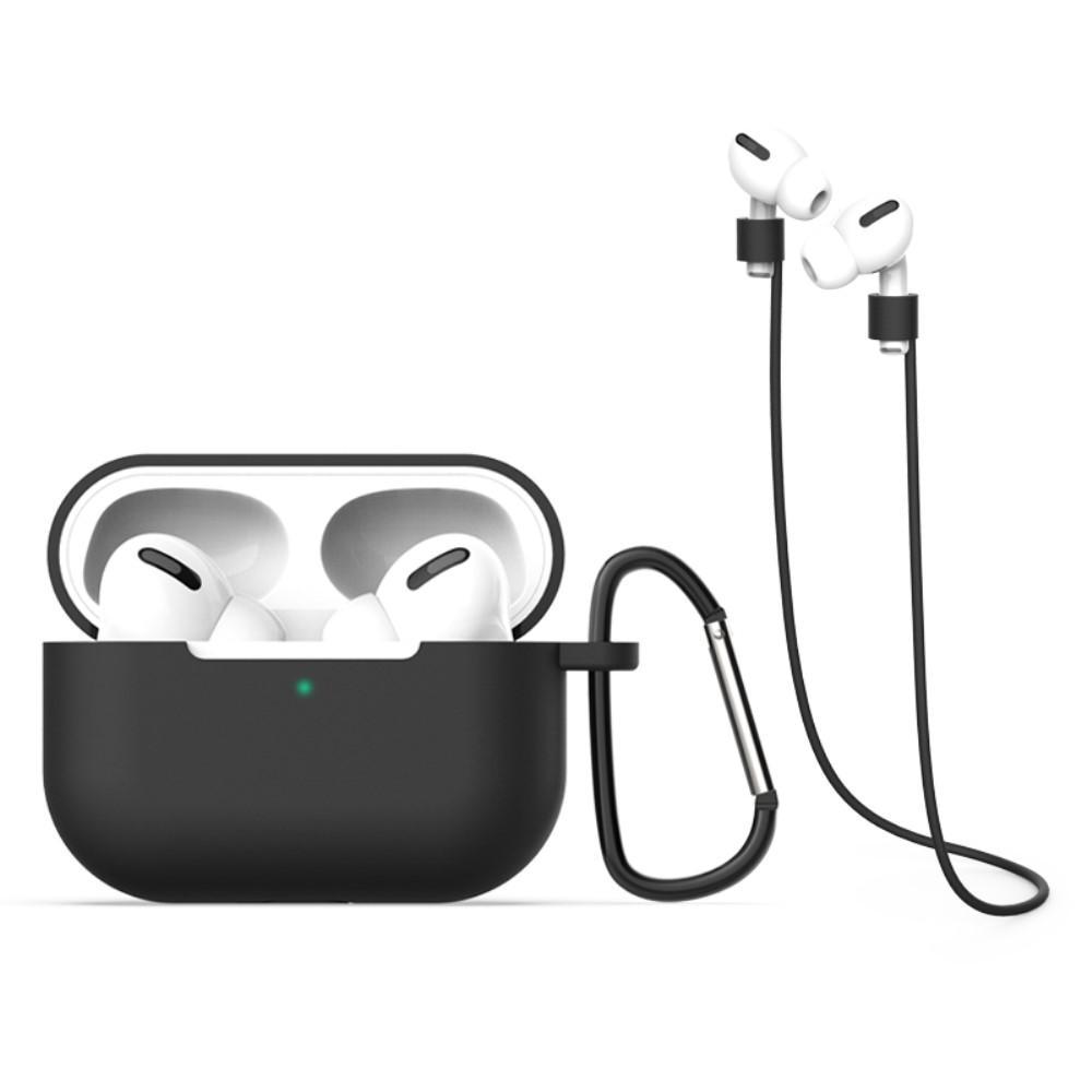 Silikonskal med karbinhake och hörlursband AirPods Pro svart