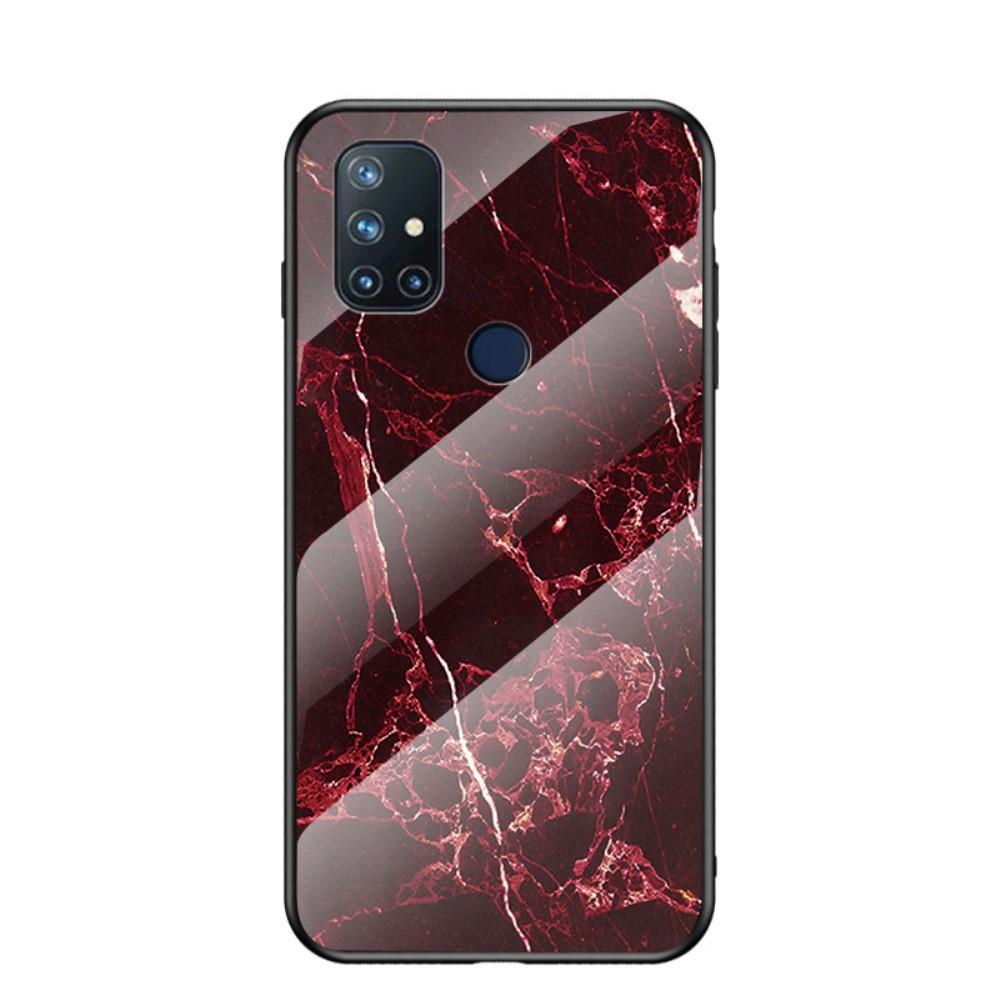 Skal Härdat Glas OnePlus Nord N10 5G röd marmor