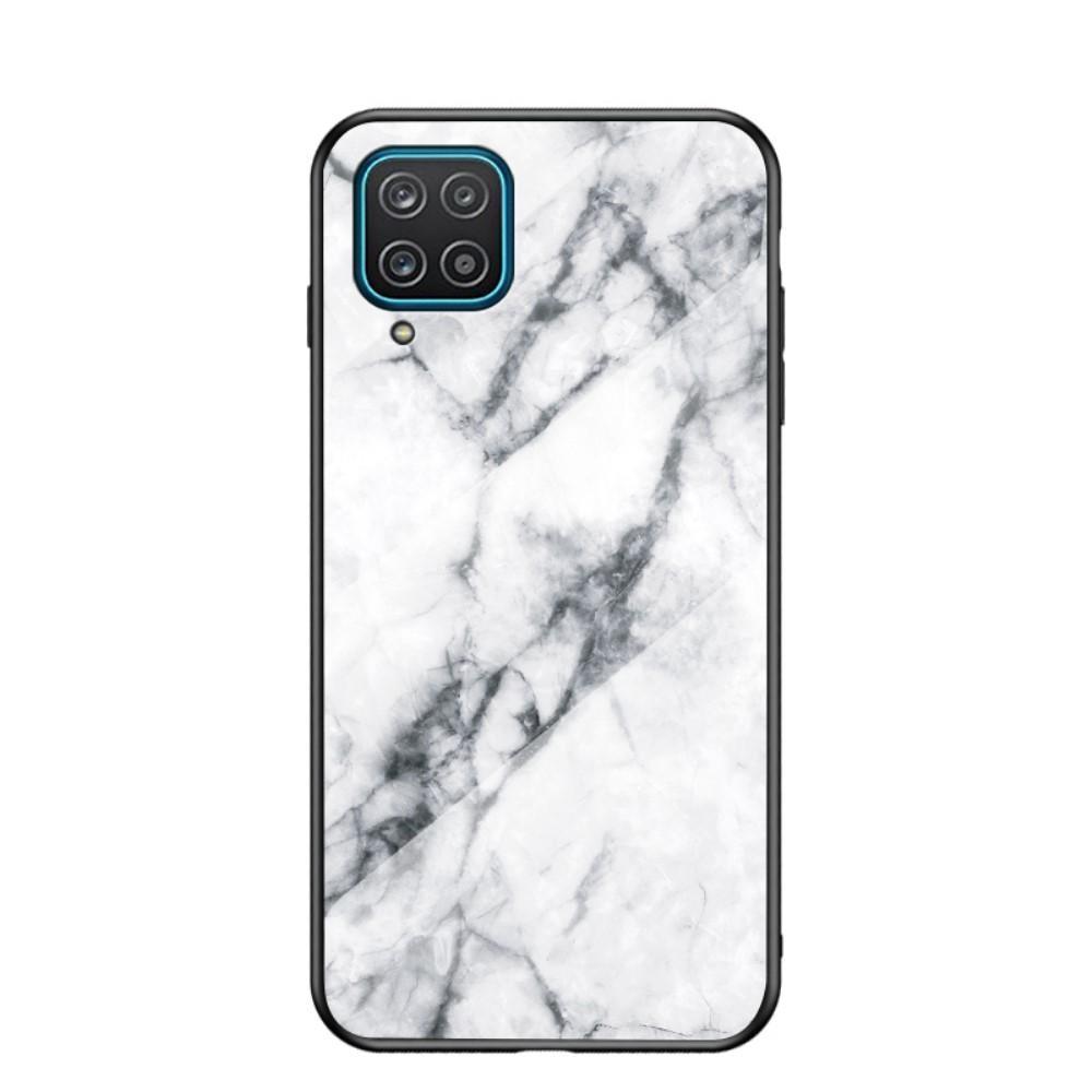 Skal Härdat Glas Samsung Galaxy A12 vit marmor