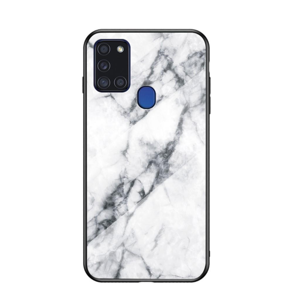 Skal Härdat Glas Samsung Galaxy A21s vit marmor