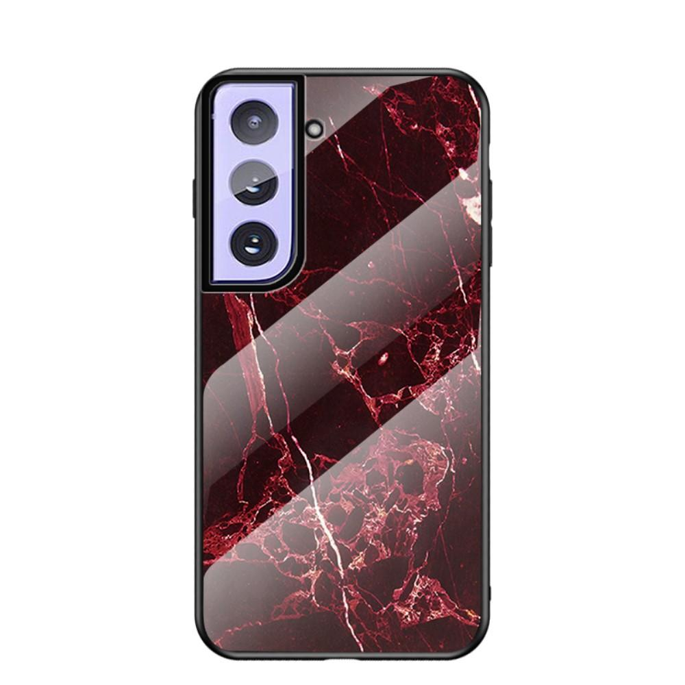 Skal Härdat Glas Samsung Galaxy S21 Plus röd marmor