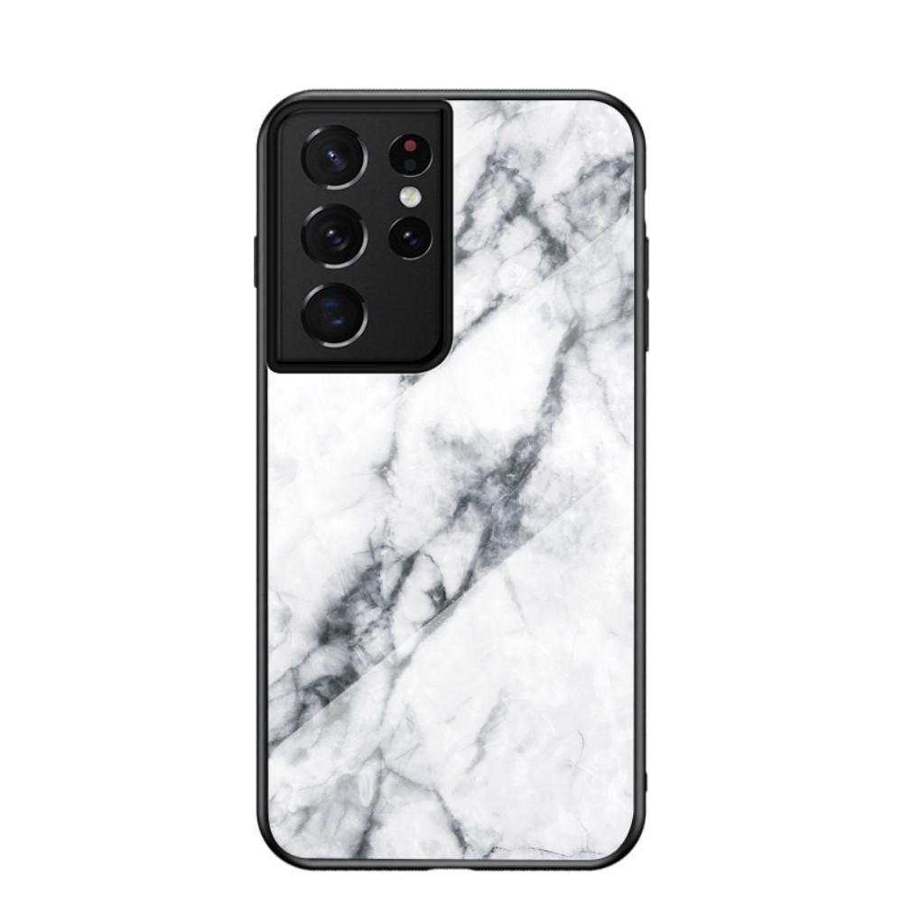 Skal Härdat Glas Samsung Galaxy S21 Ultra vit marmor