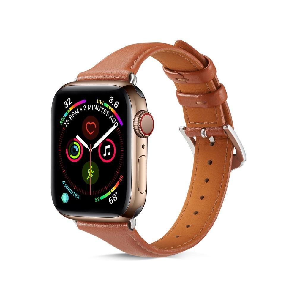 Slim Läderarmband Apple Watch 42/44 mm cognac