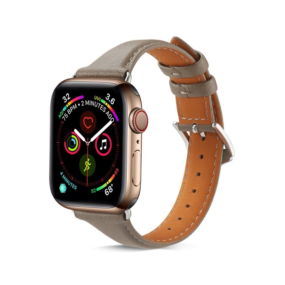 Slim Läderarmband Apple Watch 42/44/45 mm grå