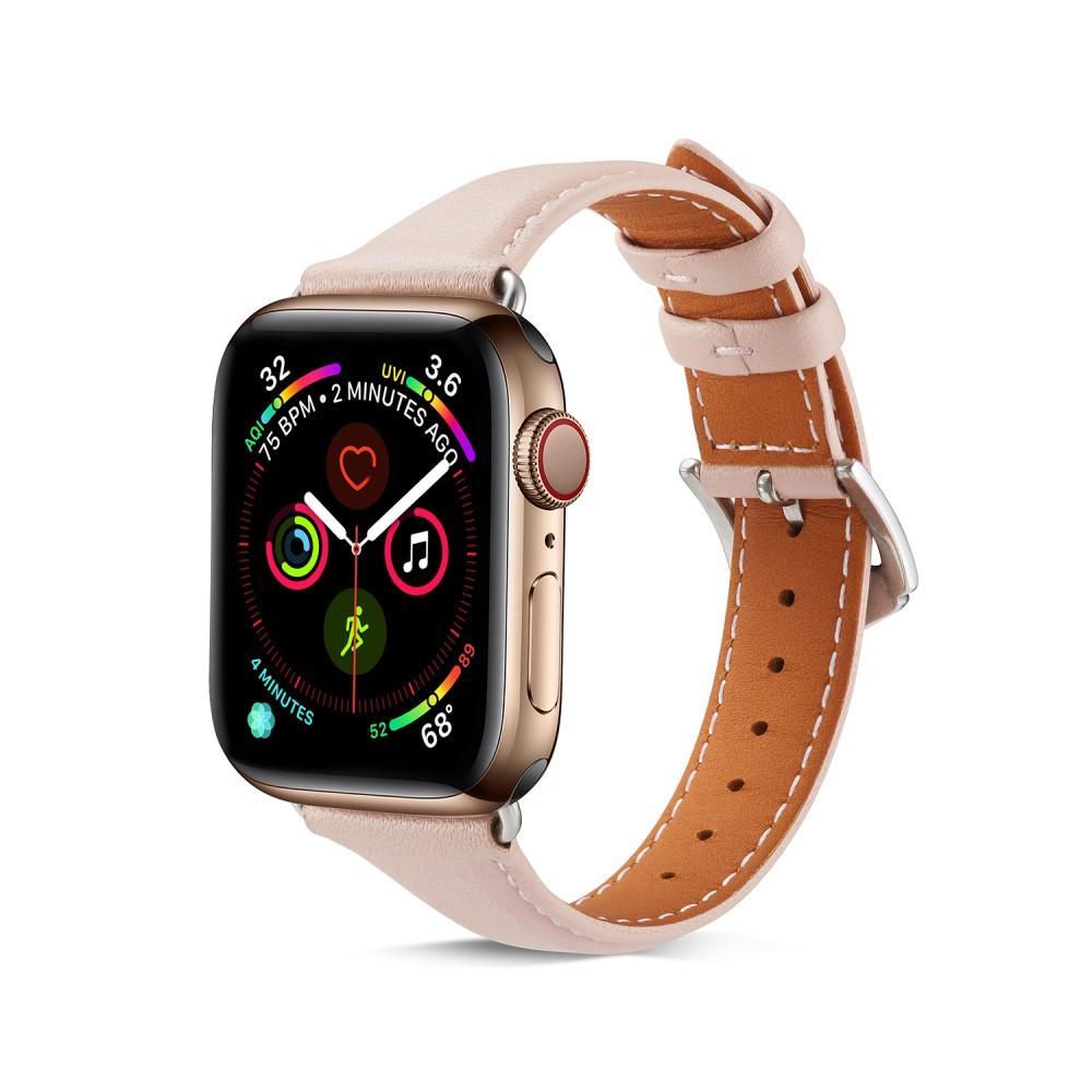 Slim Läderarmband Apple Watch 42/44 mm rosa
