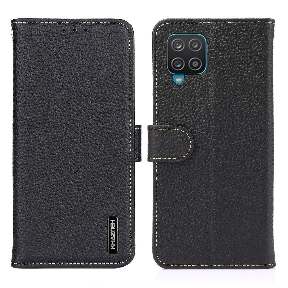 Real Leather Wallet Galaxy A12 Black