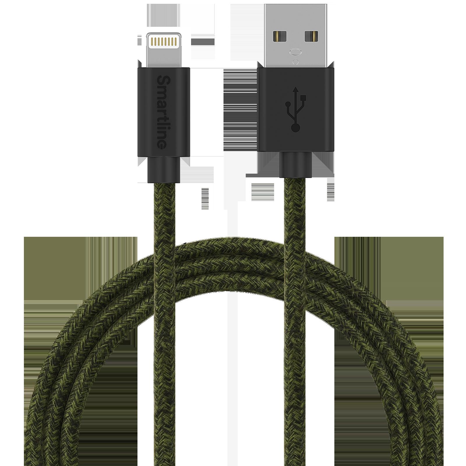 Fuzzy USB-kabel Lightning 2m Grön