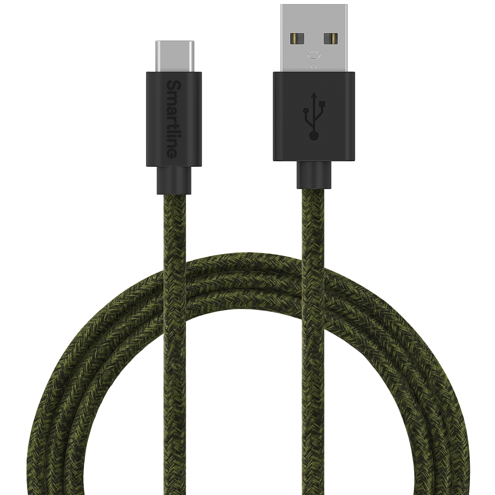 Fuzzy USB-kabel USB-C 2m Grön