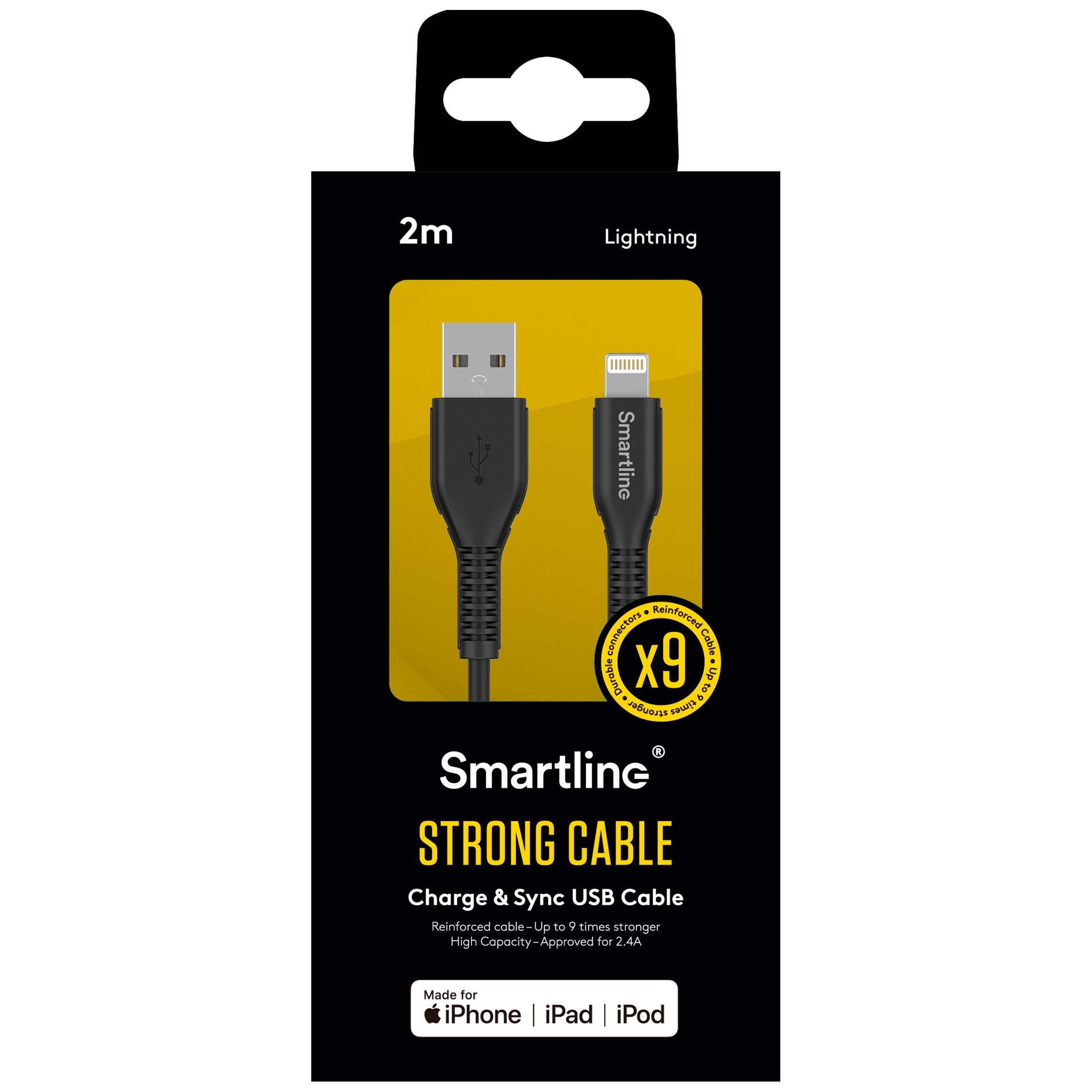 Strong USB-kabel Lightning 2m Svart