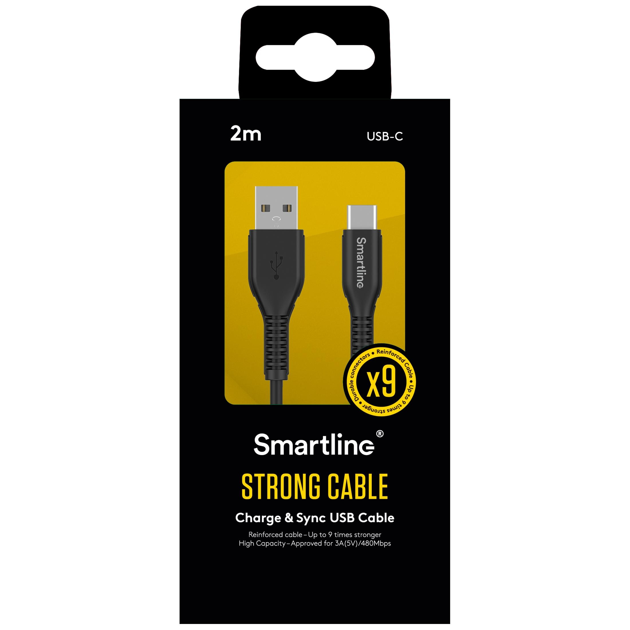 Strong USB-kabel USB-C 2m Svart