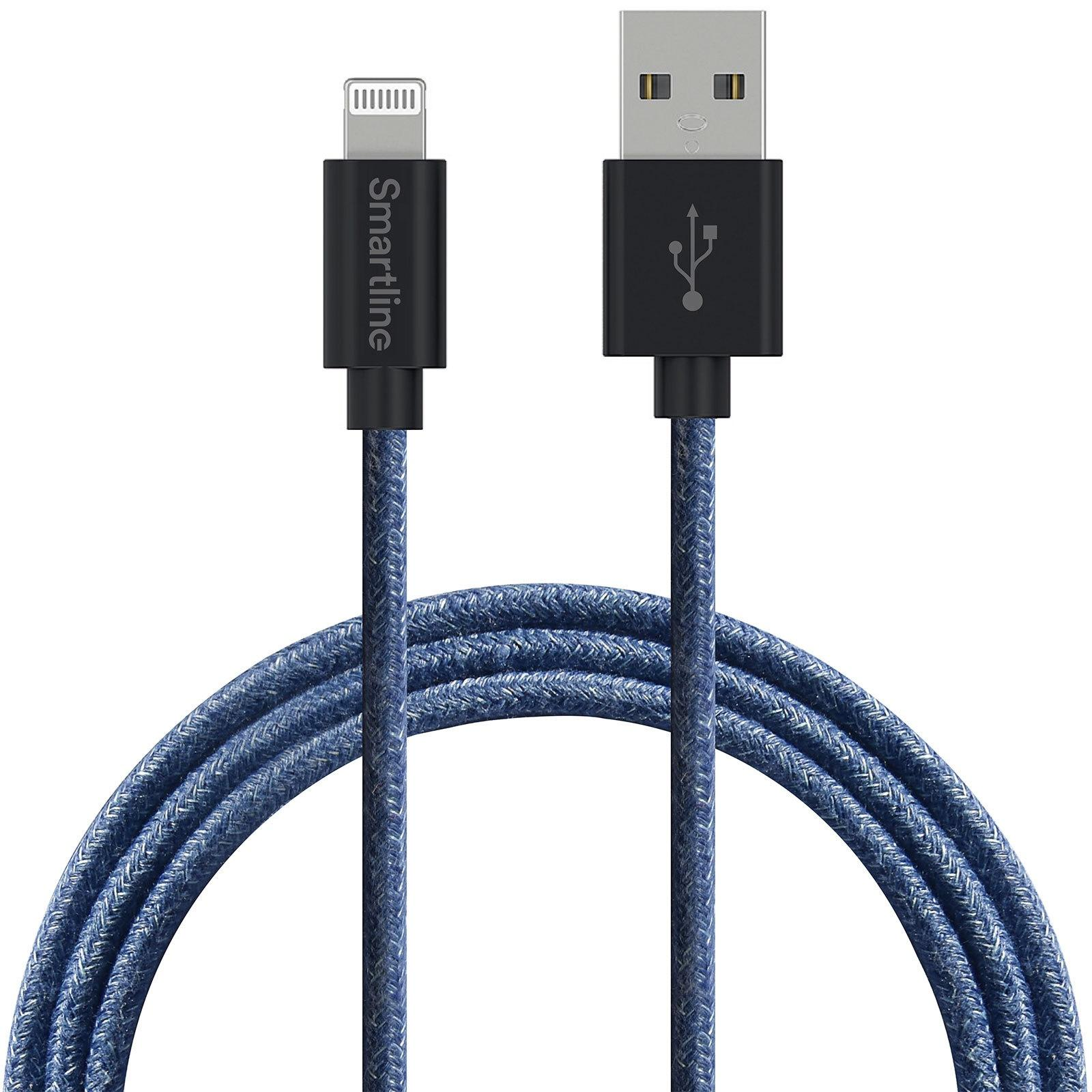 Fuzzy USB-kabel Lightning 2m Blå