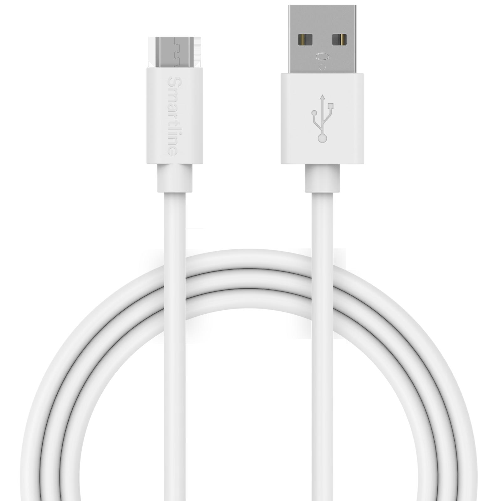 USB-kabel MicroUSB 2m Vit