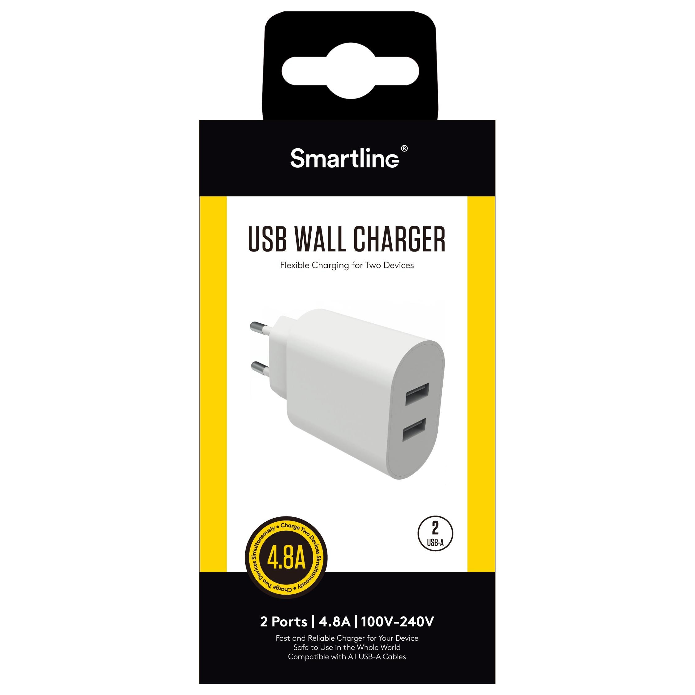 USB Väggladdare Dual 4.8A Vit