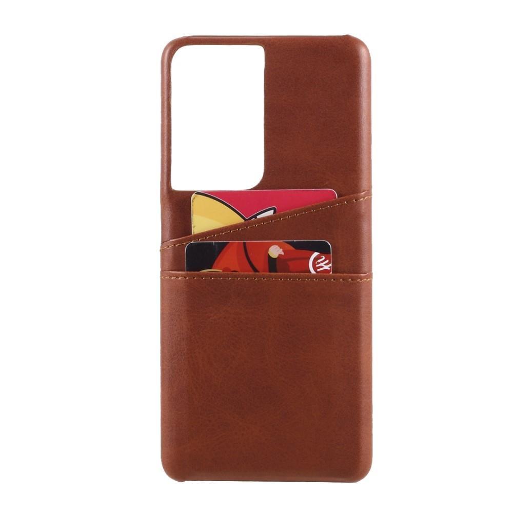 Card Slots Case Samsung Galaxy S21 Ultra brun