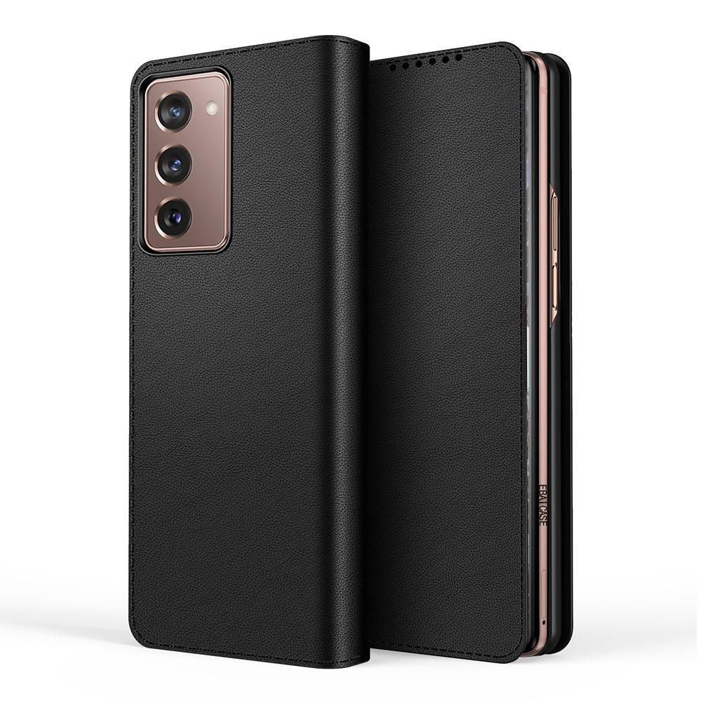 Äkta Läderfodral Samsung Galaxy Z Fold2 5G svart