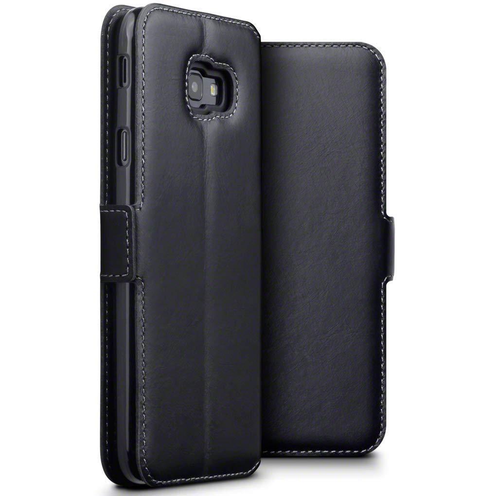Slim Äkta Läderplånbok Galaxy J4 Plus 2018 svart