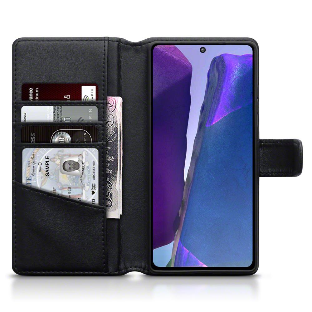 Äkta Läderplånbok Galaxy Note 20 svart