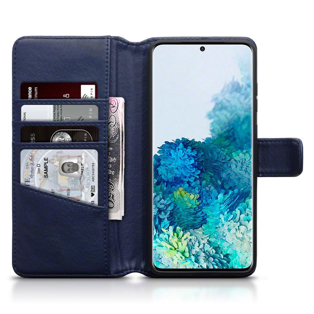 Äkta Läderplånbok Galaxy S20 Plus blå