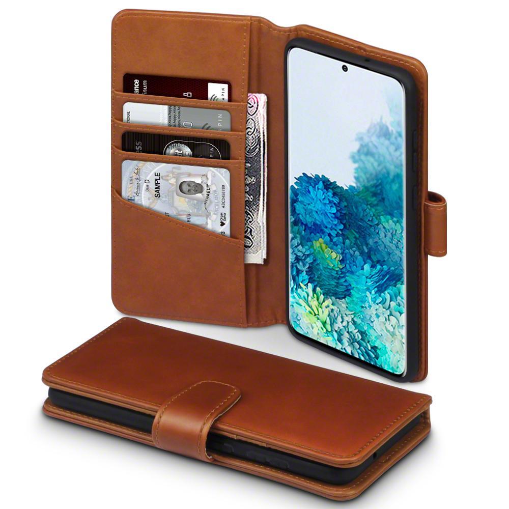 Äkta Läderplånbok Galaxy S20 Plus cognac