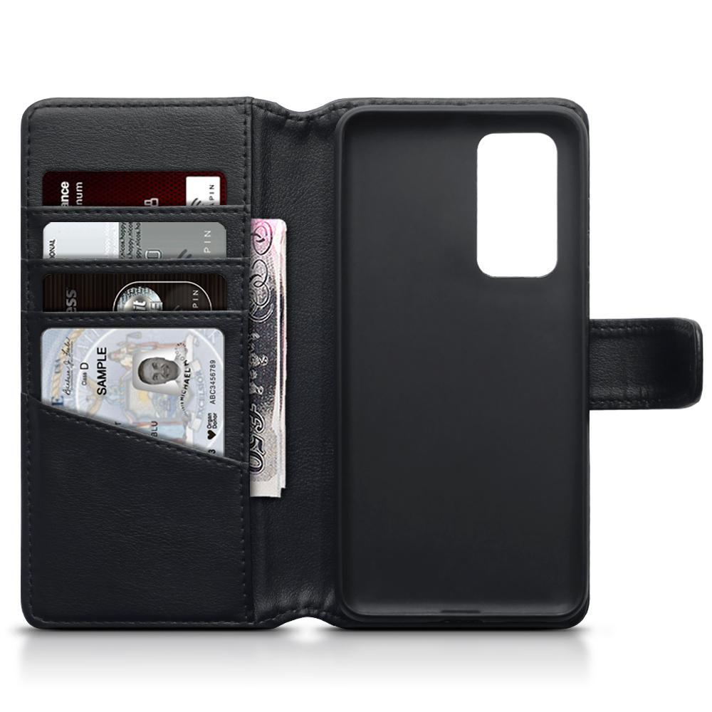 Äkta Läderplånbok Huawei P40 svart